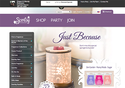 **Our Scentsy Online Storefront will open in new Tab.