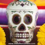 sugar skull calavera candle